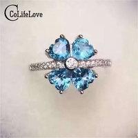 Cute flower ring for girl 4 pcs natural blue topaz real 925 sterling silver heart ring light topaz silver ring for birthday gift