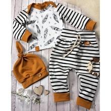 MUQGEW, коллекция года, футболка с перьями для новорожденных мальчиков и девочек топы, штаны в полоску, комплект одежды, Прямая поставка, одежда для малышей Лидер продаж,#06