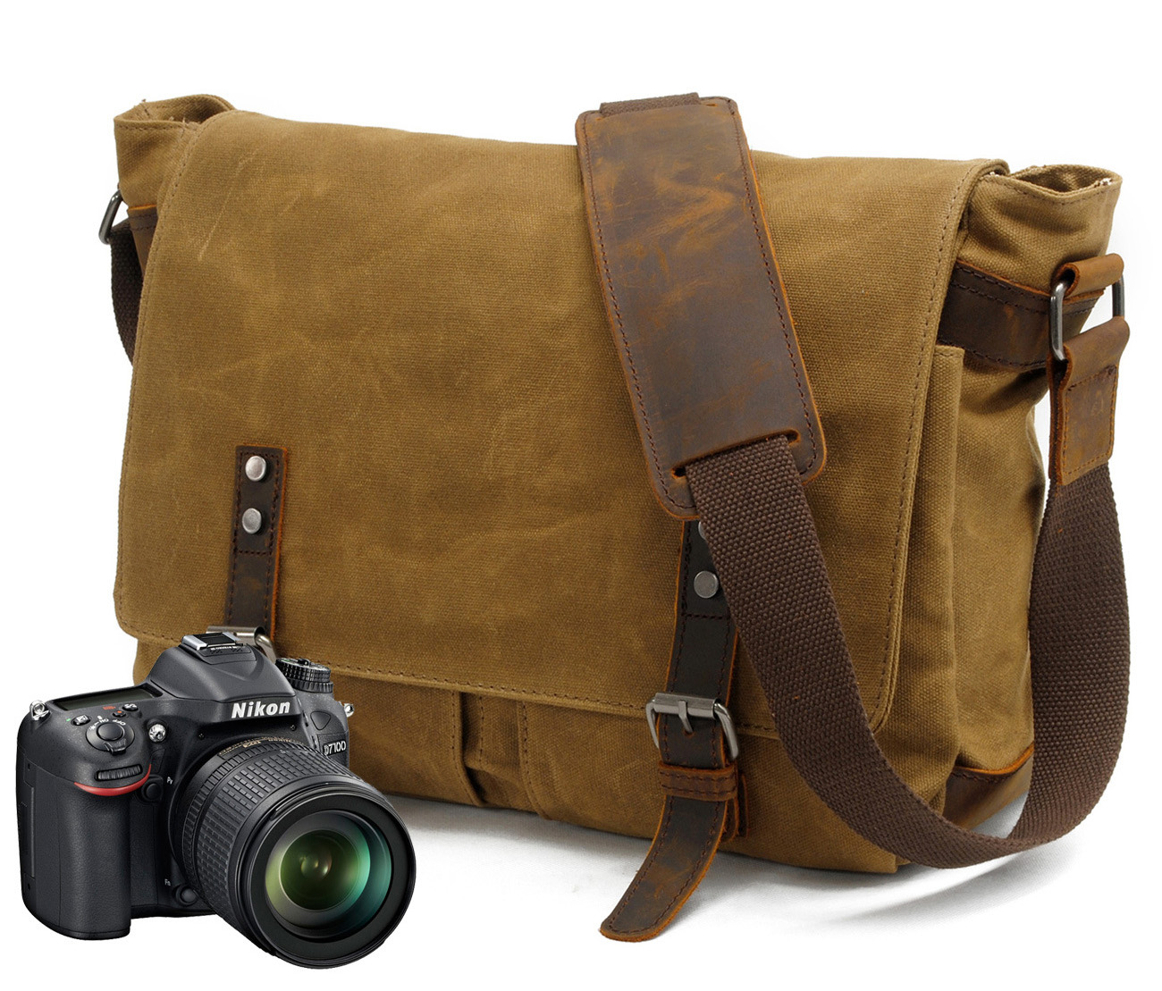 E6928 Canvas Vintage DSLR Camera Bag Case 14 Laptop Shoulder Casual daypack Messenger Pack for Canon Nikon Sony Pentax Olympus