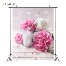 Laeacco Dreamy Polka Dots Pink Flowers Gray Wooden Board Lantern Love Baby Doll Portrait Photo Backgrounds Photography Backdrops