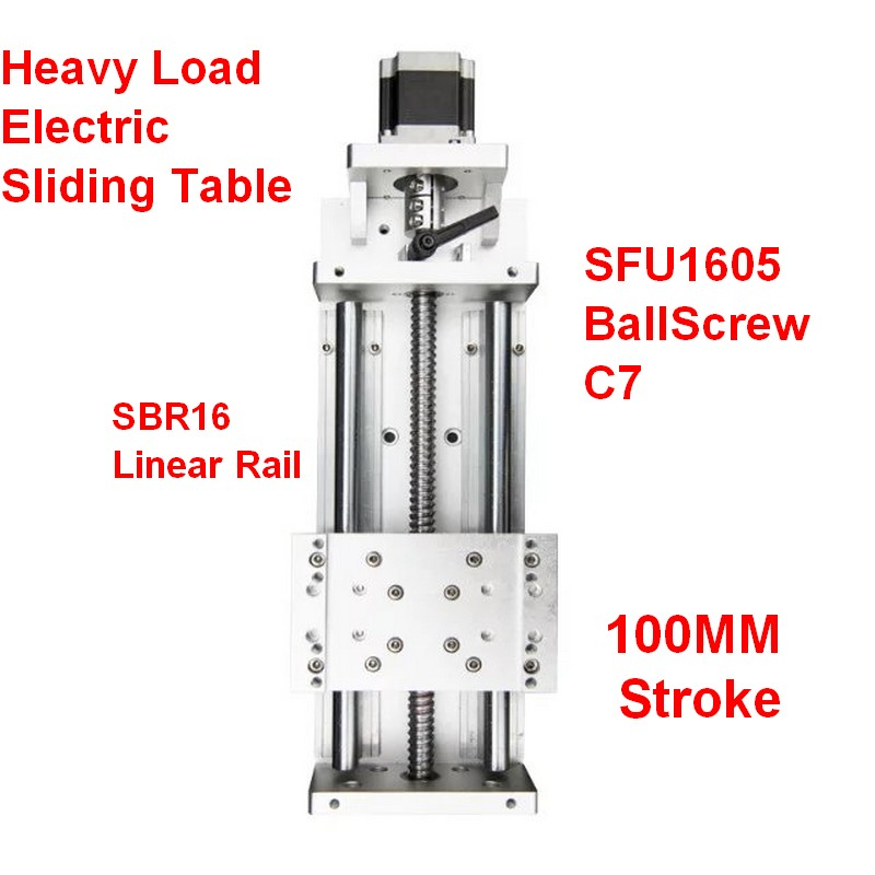 100MM Stroke CNC Heavy Load Electric Precision Milling Sliding Table Slide Linear Stage SFU1605 C7 Ball