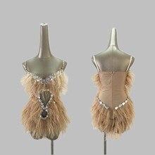 Новые костюмы для ночного клуба из страусиных перьев, сексуальные Ds стразы, боди для девочек, сценические костюмы для певцов, Dj, Джаз, женский сценический наряд