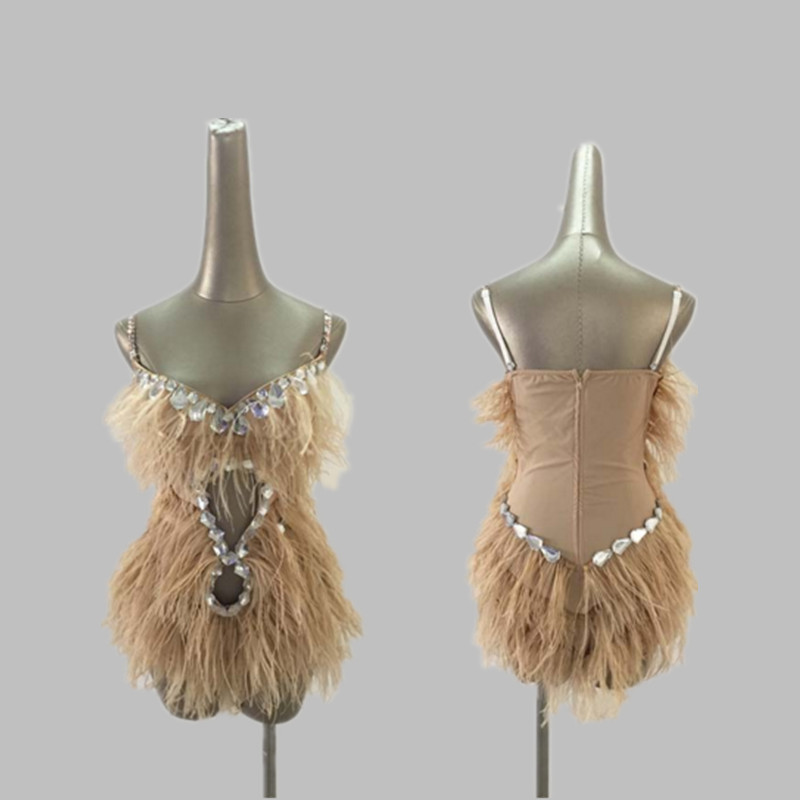 New Ostrich Feather Nightclub <font><b>Costumes</b></font> <font><b>Sexy</b></font> <font><b>Ds</b></font> Rhinestone Bodysuit Girls <font><b>Stage</b></font> <font><b>Costumes</b></font> <font><b>For</b></font> <font><b>Singers</b></font> Dj Jazz Woman <font><b>Stage</b></font> Outfit image