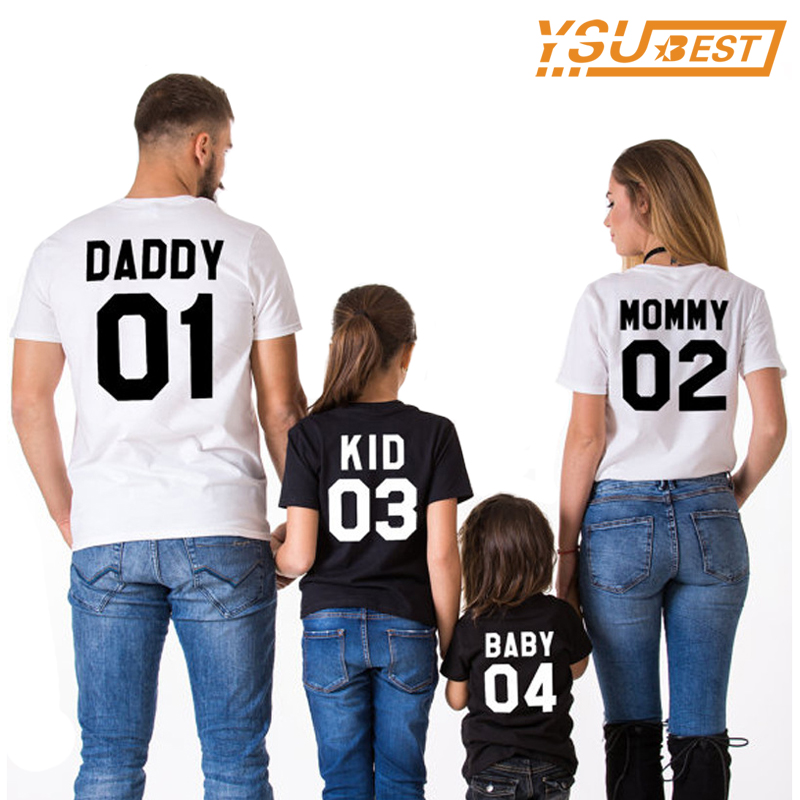 Family Matching Clothes Summer Family Matching Outfits Short-sleeved Cotton Matching Family Clothes T-shirt New Family Look new christmas family look family matching outfits t shirt color milu deer matching family clothes mother baby long sleeve cc527