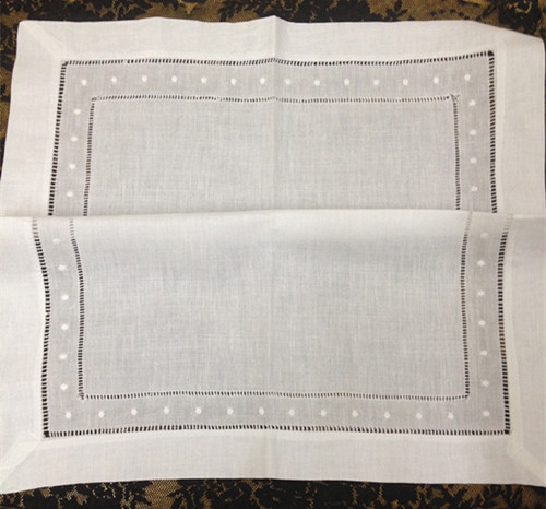 Set Of 12 Fashion Linen Handkrchiefs With White Embroidered Dots Table Napkin/ Dinner Napkins For Special Occasions 18