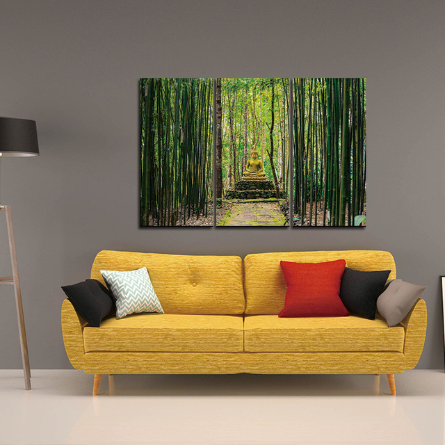 Modern Canvas Painting Wall Art Pictures 3 Panels Framed Artwork Paintings Buddha Green Bamboo Stones Zen Prints Posters
