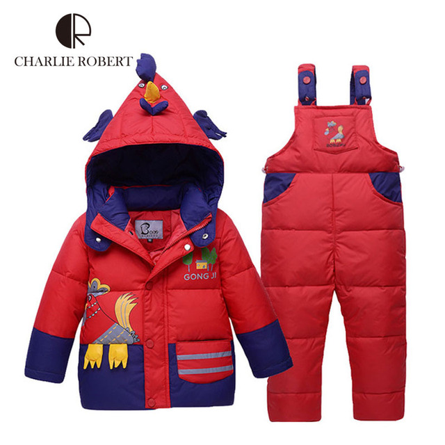 Children Winter Jacket For Girls Boys Children Clothing Sets Parkas Down Coat Overalls Pants Hooded Baby Clothes Warm Outerwear
