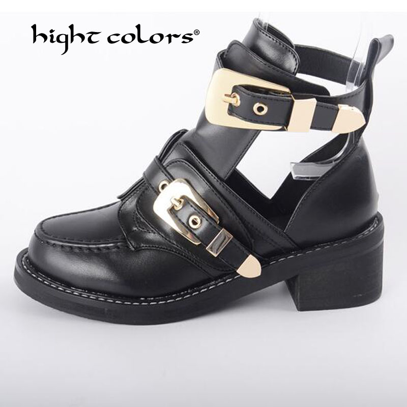 2019 Women s Shoes Summer Fashion Buckle Strap Motorcycle Boots High Heels Round Toe Mid Calf