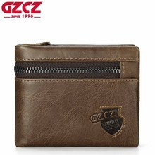 GZCZ Genuine Leather Wallet Men Zipper Design Bifold Short Male Clutch With Card Holder Mini Coin