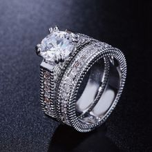 купить Promise Engagement Double Rings For Couples Lovers Silver Color Zircon Crystal Pairs Wedding Ring Set For Men and Women дешево