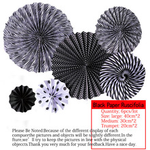 6pcs/lot Black Cheap Paper Fans For Wedding Tissue Paper Fans Flowers Birthday Party Holida