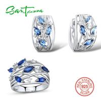 Silver Jewelry Sets For Women Blue Cystal White Cubic Zirconia Stone Ring Earrings Set Pure 925 Sterling Silver Jewelry Set