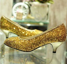 Gold Elegant Sexy high heels Bridal Dress Shoes lady's Sequined Bridal wedding shoes glitter nightclub pumps Shoes Woman