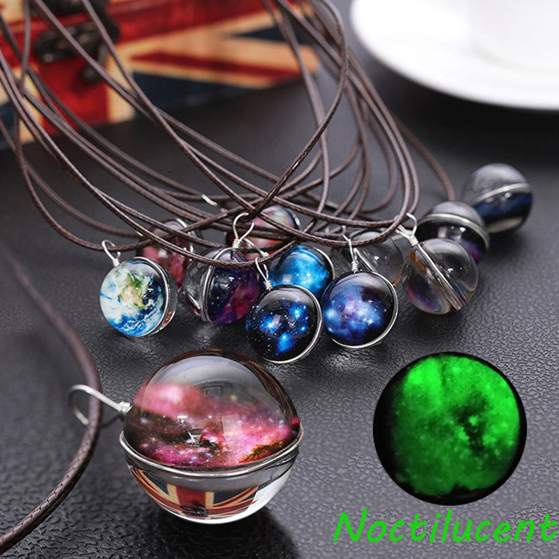 Choker Women Necklace Statement 1PC New Universe Crystal Fashion Chain Pendant Double-sided Night Lights Jewelry