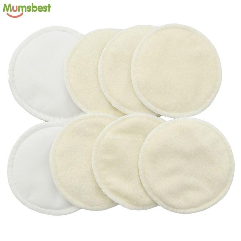 [Mumsbest] 4 Pcs New Bamboo Breast Pad Nursing Pads For Mum Washable Waterproof  Feeding Pad Bamboo Reusable  Breast Pads