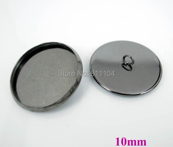 10 мм Gunmetal Черный Медь Покрытая Пустые Основы Круглый Круг Рамка Кабошон Настройки Шапки Кнопки Назад Loop Выводы