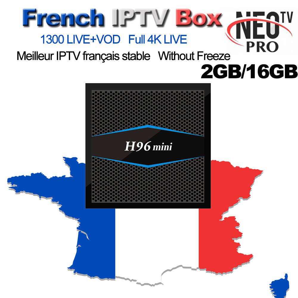 NEOPRO TV 1300+ French Arabic Belgium Morocco IPTV M3U Code VOD QHDTV H96 Mini Android 7.1 Smart TV Box 2G/16G  Set top Box