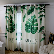 Simple Modern Banana Plant Printed Window Semi shading Cotton Linen Fabric Curtains for the Bedroom Living