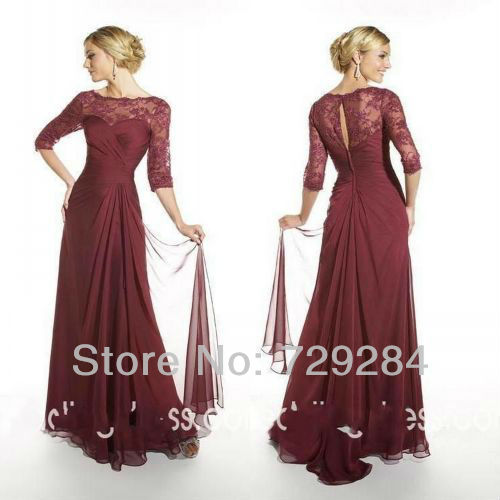 3 4 Sleeve Floor Length Mother Of The Bride Dress Lace
