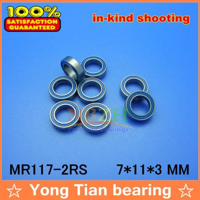 Free Shipping High quality 10PCS MR117-2RS ABEC-5 7*11*3 mm Miniature Ball Bearings MR117RS L1170 Blue rubber seal  free shipping 10 pcs 684zz 684z 684 bearings 4x9x4 mm miniature ball bearings l 940zz abec5