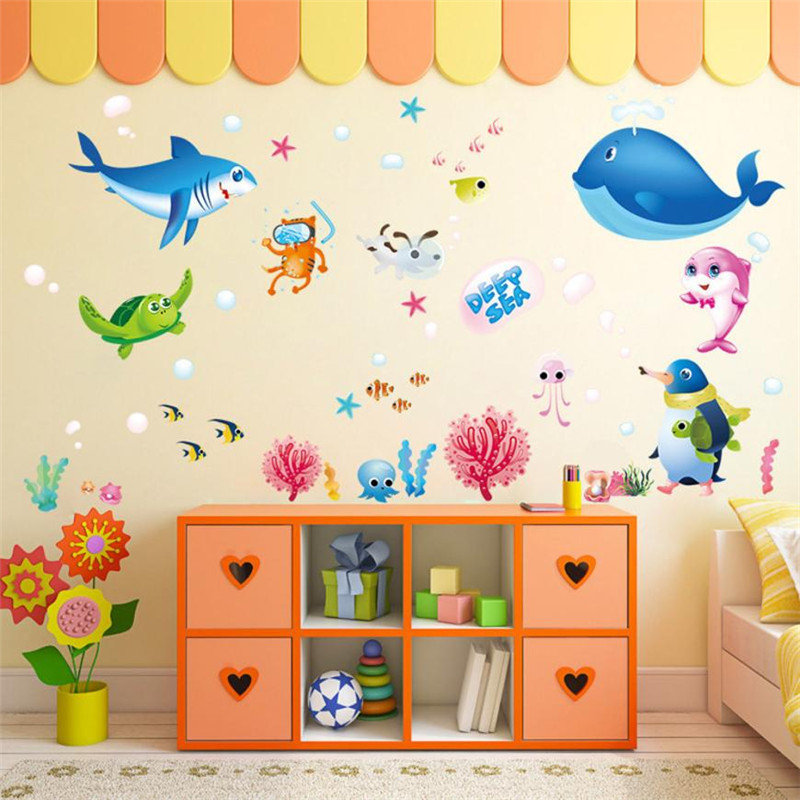 Colorful Rooms For Toddlers: Wall Stickers For Kids Rooms Colorful Fish Shark Ocean