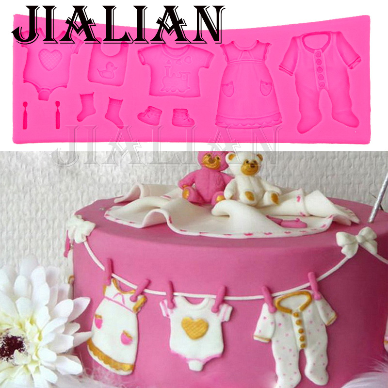 Hot selling pop 3d baby clothes shower diy silicone mould for Baby shower clothespin decoration