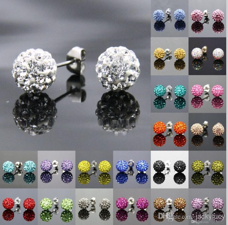 695d64072 Muti-colors Sparkle Round Swarovski Crystal Ball Stud Earrings for Wedding  Party 24 Pairs/lot Free Shipping
