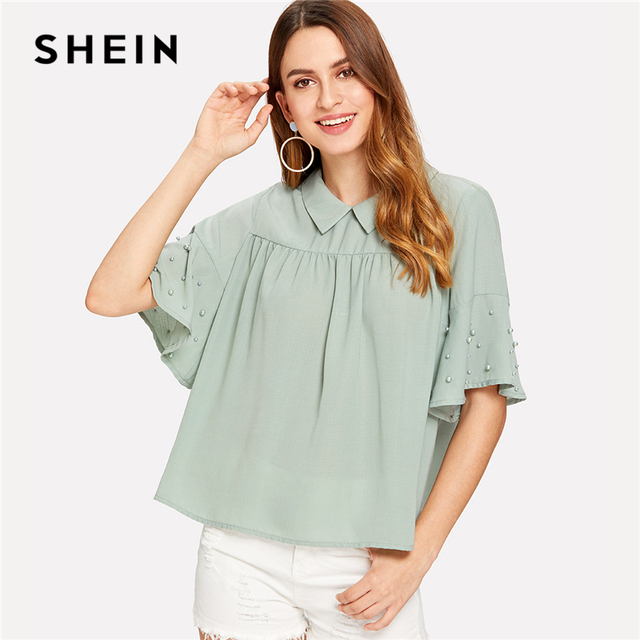 6ed11e6cc7 SHEIN Turquoise Preppy Stand Collar Pearl Beading Bell Flounce Half Sleeve  Collared Smock Blouse Summer Women Casual Shirt Top