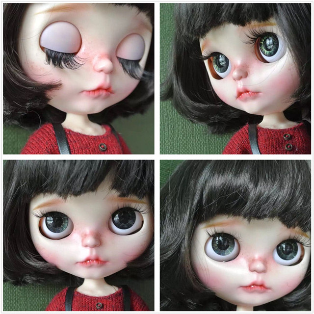 Factory Neo Blythe Doll Black Short Hair Jointed Body 30cm