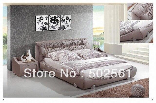 King Size cama de cuero genuino moderno de China muebles de ...