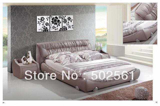 King Size cama de cuero genuino moderno de China muebles de dormitorio contemporáneo