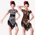 Cebra del grano del leopardo de la competencia latin dance dress for girls dress práctica dancing dress dancewear niños vestido latino
