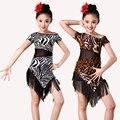Zebra Leopard Grain Competition Latin Dance Dress For Girls Dress Practice Dancing Dress Girl Dancewear Kids Vestido Latino