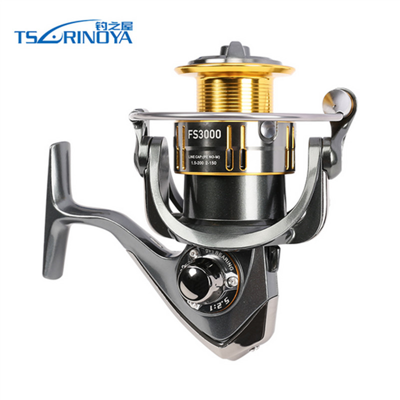 TSURINOYA FS3000 Spining Reel 9+1BB 5.2:1 Metal Spool Aluminium Handle De Pescaria Fishing Rock Pescaria Reel Molinete Pesca tsurinoya fs3000 spinning reel 9 1bb 5 2 1 bevel metal spool lure reel max drag 7kg molinete para pesca for saltwater fishing