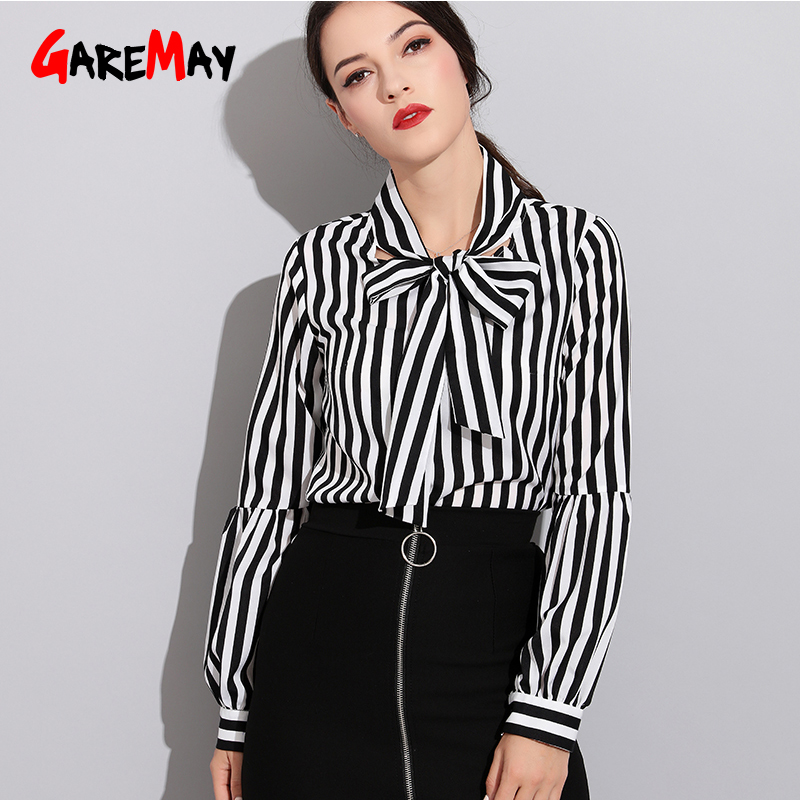 Black Bow Striped Blouse Work Shirt  Office  Women Workwear Long Sleeve Casual Tops Button Office Shirts Feminine Blouse Garemay Блузка