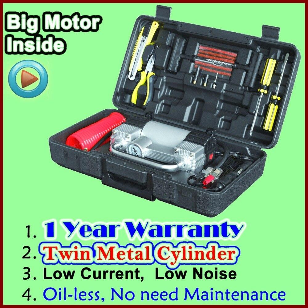 Großhandel Gute Qualität Aufblasbare Pumpe mit Koffer Auto Kompressor 12 V mit Toolbox Twin Zylinder Metall Aufblasbare Pumpe
