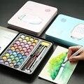 Высокое качество  36 цветов  портативные дорожные Твердые пигментные акварельные краски  набор красок с акварельной кистью  ручка для рисова...