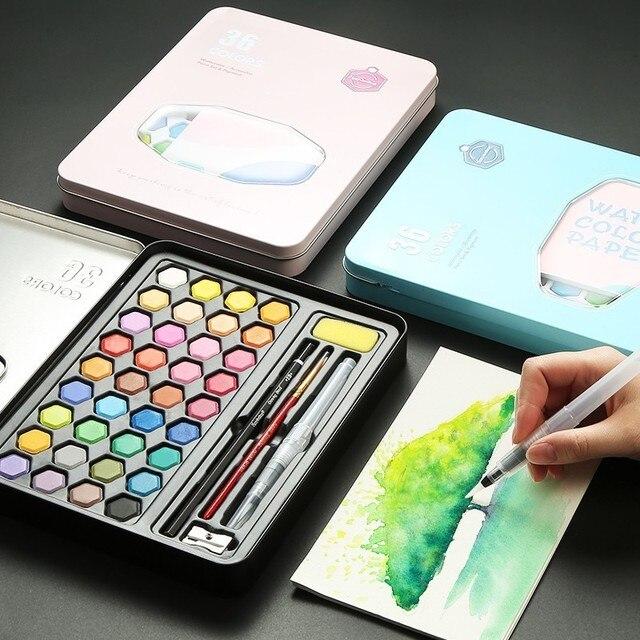Di alta Qualità 36 Colori Portatile Da Viaggio Solid Pigment Colori Ad Acquerello Set Con Pennello Penna Acquerello Per La Pittura Rifornimenti di Arte