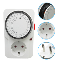 EU Plug 24 Hours Programmable Mechanical Timer Switch 16A Energy Saver with LED indicator