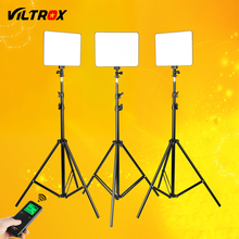 VILROX 3pcs VL-200T Bi-color Dimmable Wireless remote LED Video Light Panel Lighting Kit+75&quot Light Stand for studio shooting neewer bi color led 660 video light and stand kit with battery charger for studio youtube video recording durable metal frame