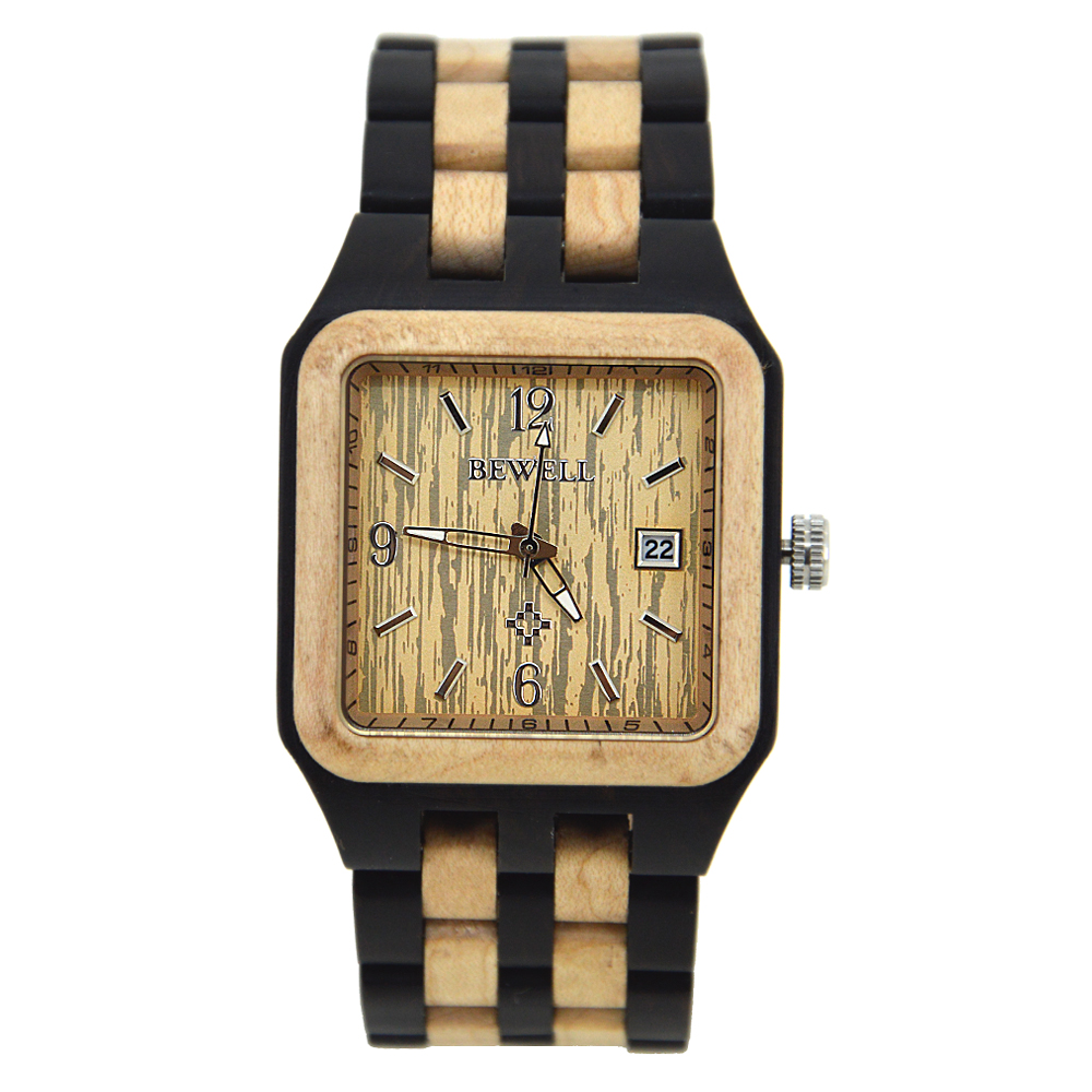 BEWELL Retro Men Square Wood Watch Quartz Wristwatch Analog Display Luminous Three Hands with 3H Calendar in Gift box 111A