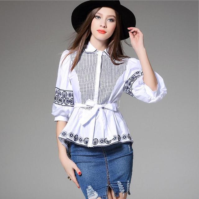 2016 100% cotton Chinese wind retro irregular shirt Heavy embroidery lantern sleeve hem blouse bow blouse shirt w981