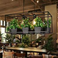 Moderne Simple bois et fer lustre éclairage 3 sortes en fer forgé plante pot bar restaurant balcon créatif suspension lampe lumière