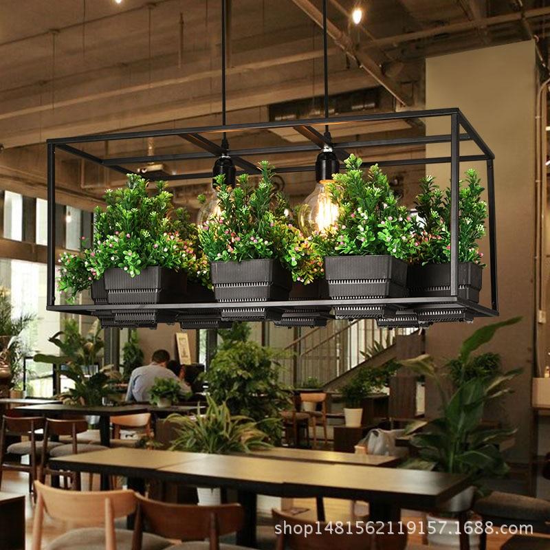 Simples e moderno de madeira & ferro lustre iluminação 3 tipos ferro forjado planta pote bar restaurante varanda criativo lâmpada suspensão luz