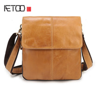 AETOO Genuine leather men 's first layer of leather original casual men' s shoulder bag Messenger bag retro vertical paragraph s
