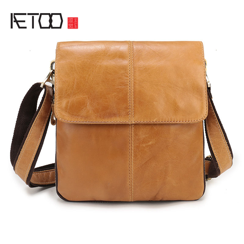 AETOO Genuine leather men 's first layer of leather original casual men' s shoulder bag Messenger bag retro vertical paragraph s men s leather oblique cross chest packs of the first layer of leather deer pattern men s shoulder bag korean fashion men s bag