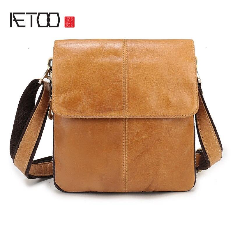Aetoo из натуральной кожи мужская первый слой Кожа Оригинальная Повседневная Мужская сумка Сумка ретро вертикальная пункт S ...