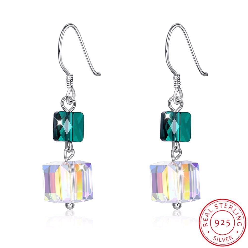 970d7f151 LEKANI Crystals From SWAROVSKI Cube Bead Drop Earrings S925 Sterling Silver  Earrings For Women Fine Jewelry Party Joyas-in Earrings from Jewelry ...