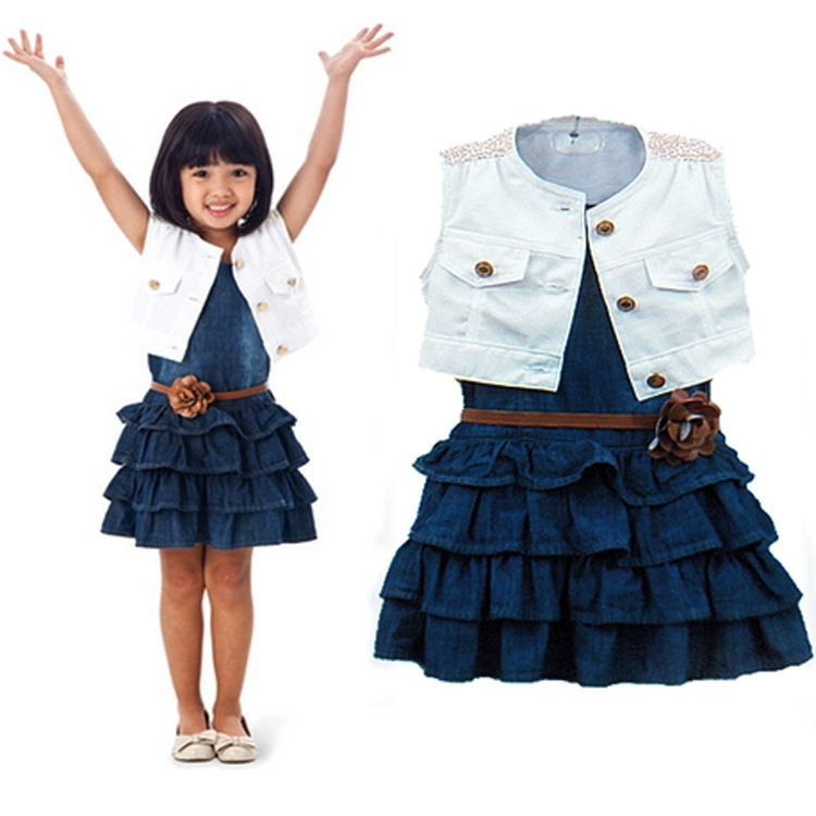 2018 Wholesale girls denim vest + dress european summer sleeveless dress girls clothing sets