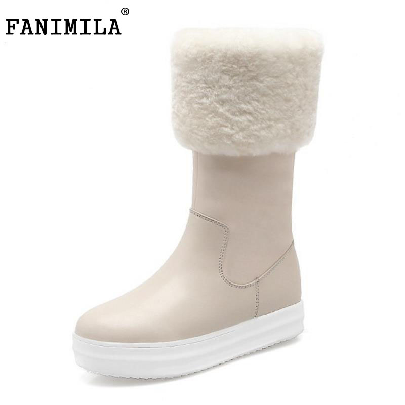 FANIMILA Women Real Leather Half Short Snow Boots Flats Boots With Thick Fur Shoes Cold Winter Botas Women Footwears Size 34-39 coolcept women genuine leather flats boot thick fur boots zipper winter shoes half short snow boots women footwears size 34 40